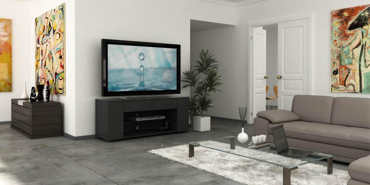 ateca luxe noir meubles tv ateca sur easylounge. Black Bedroom Furniture Sets. Home Design Ideas
