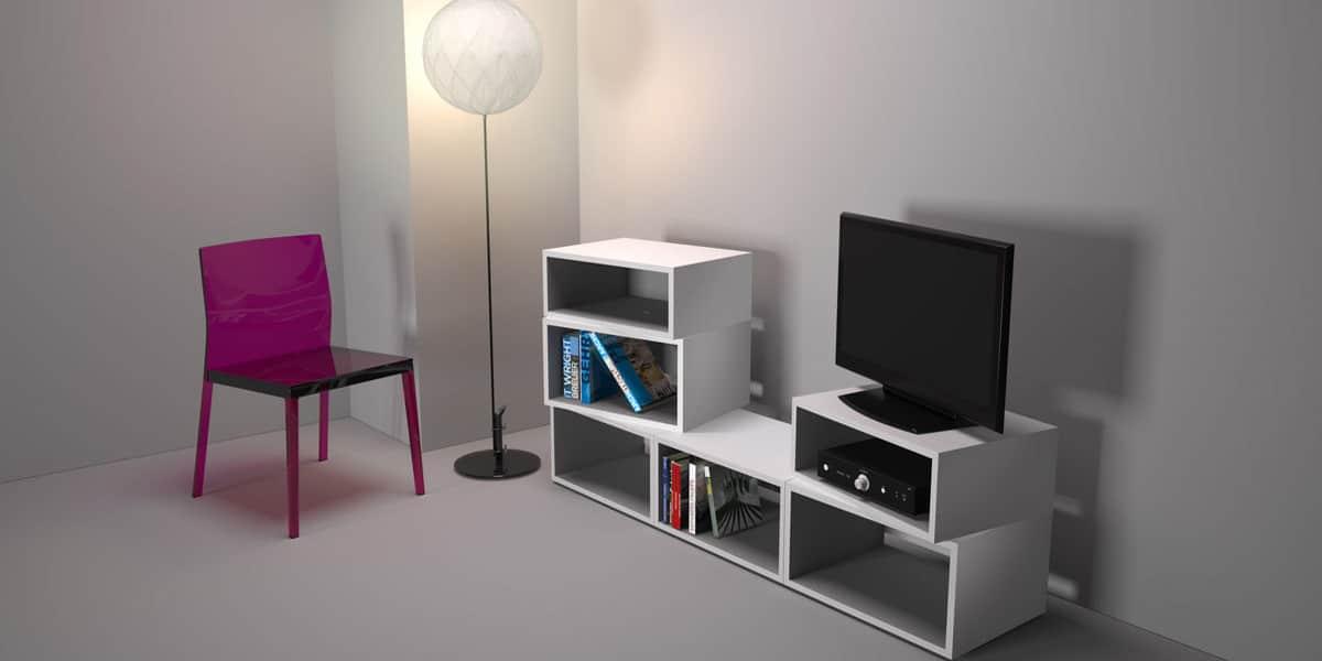 ateca turnbox s blanc produit termin - Meuble Tv Bas Ateca Turnbox S Blanc