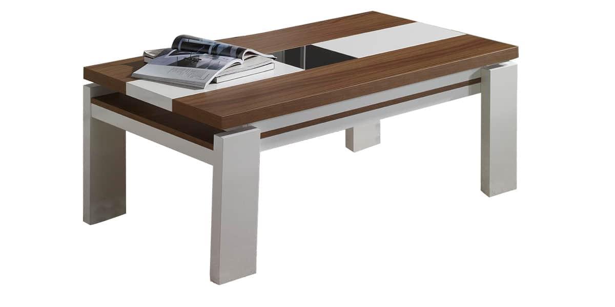 coti design gemma m noyer et blanc tables basses sur easylounge. Black Bedroom Furniture Sets. Home Design Ideas
