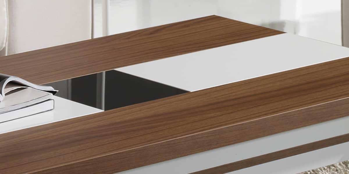 coti design gemma m noyer et blanc tables basses sur. Black Bedroom Furniture Sets. Home Design Ideas
