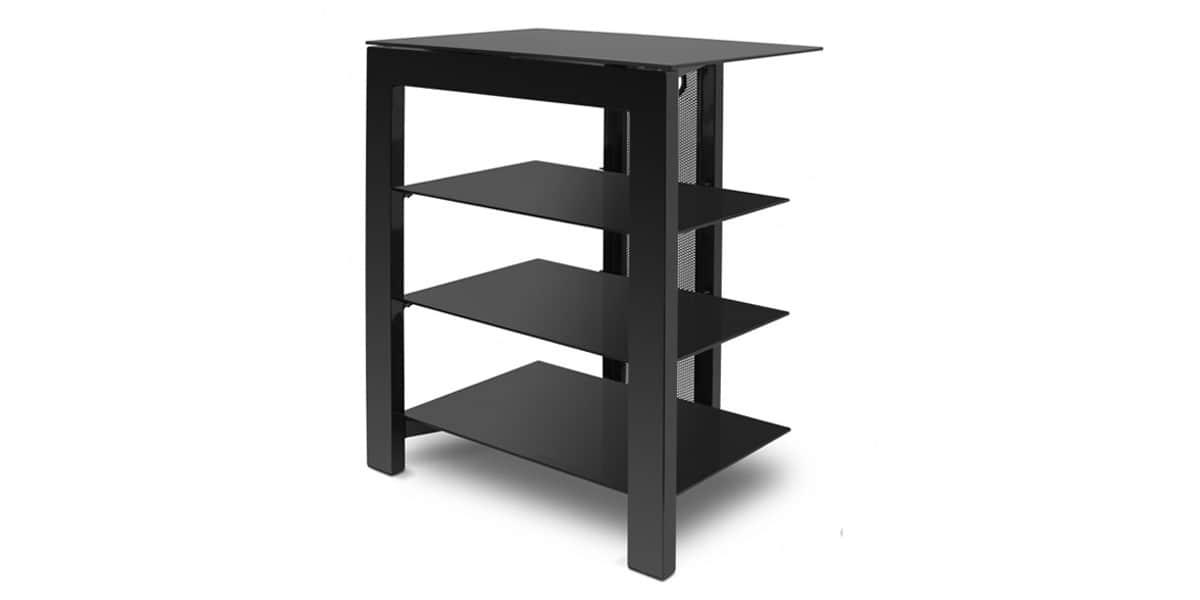De conti arca noir meubles hifi sur easylounge for Meuble hifi noir