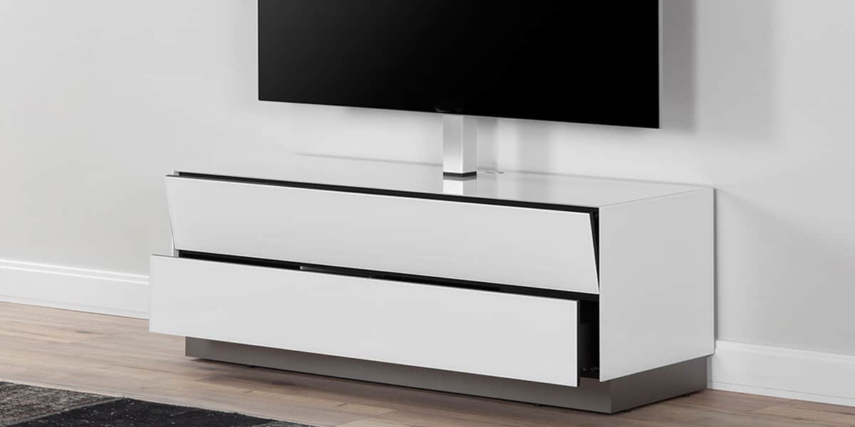 de conti duo 2 blanc avec potence meubles tv de conti sur easylounge. Black Bedroom Furniture Sets. Home Design Ideas