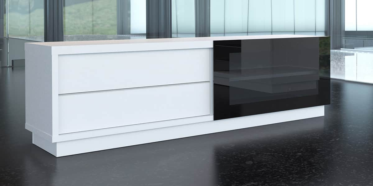 De conti stile 2 blanc meubles tv de conti sur easylounge for Meuble tv bas design