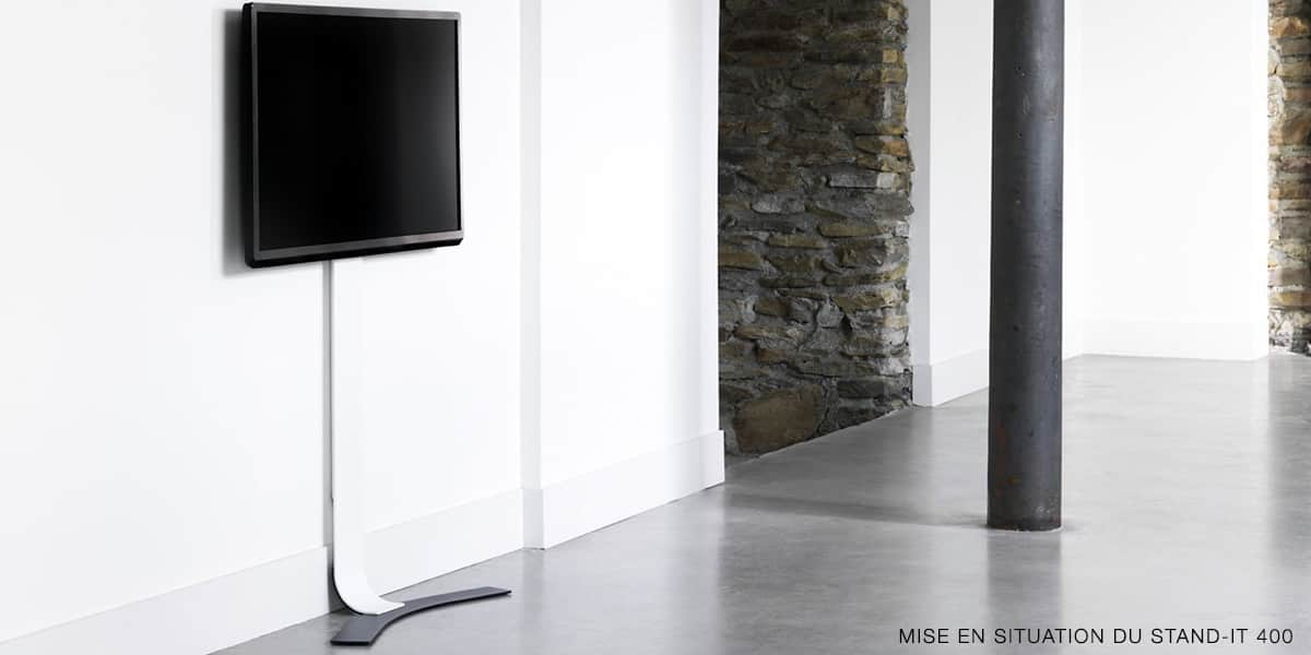 erard standit 600 blanc supports tv sur pied sur easylounge. Black Bedroom Furniture Sets. Home Design Ideas