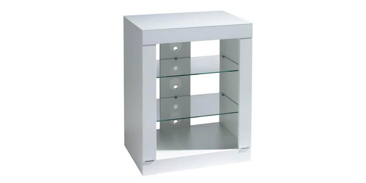 Gisan gisan pl s66 blanc meubles hifi sur easylounge - Meuble chaine hifi en verre ...