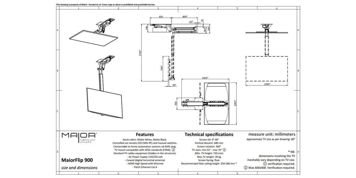 Maior flip900 supports tv motoris s sur easylounge - Support plafond tv motorise ...
