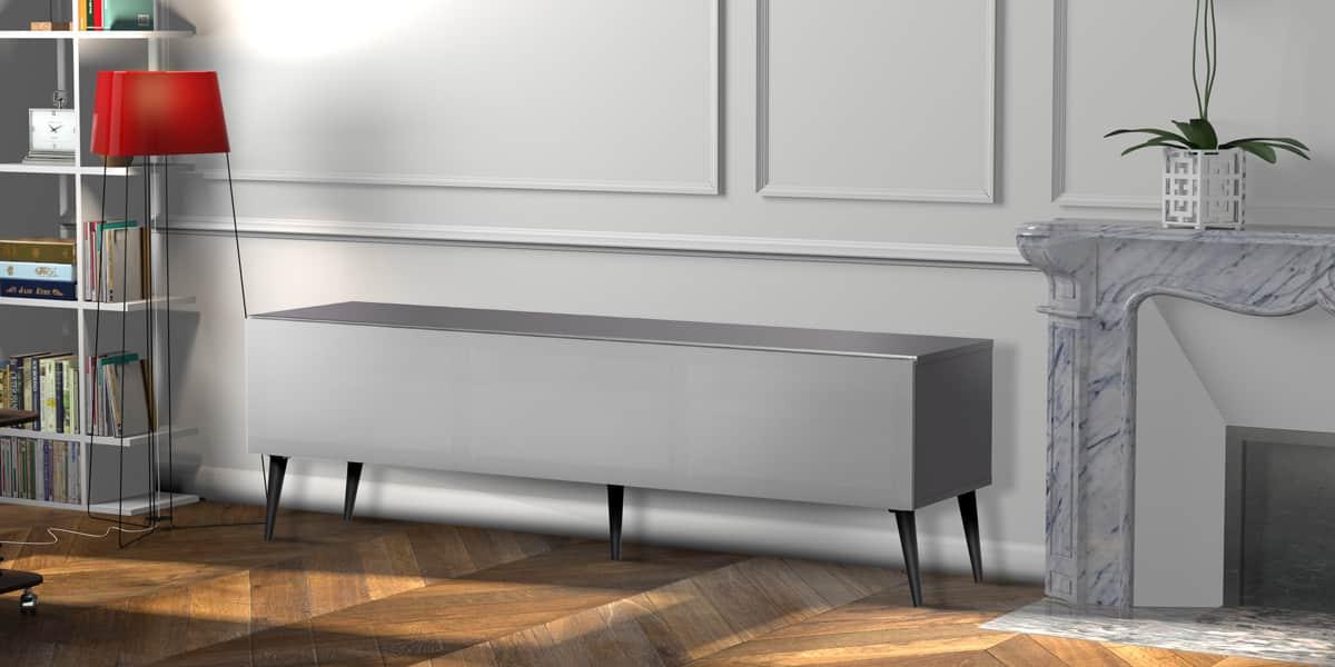 Meliconi helsinborg 160 gris meubles tv meliconi sur for Meuble meliconi