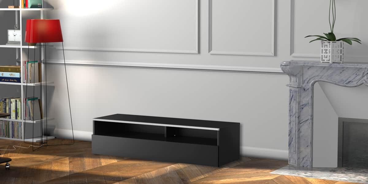 meliconi new york 120 noir meubles tv meliconi sur easylounge. Black Bedroom Furniture Sets. Home Design Ideas