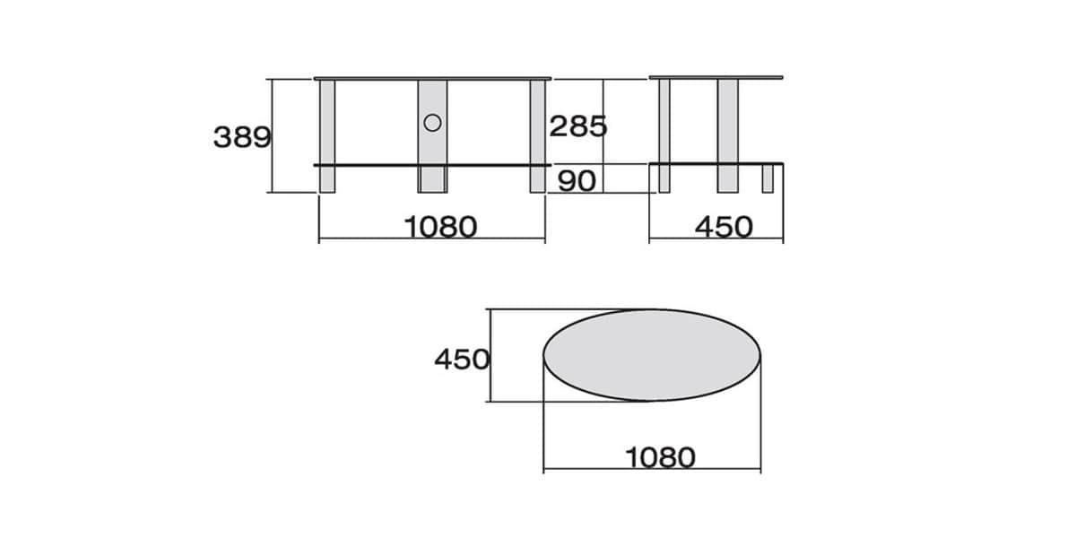 Meuble Tv Meliconi : Meliconi Oval 200 Noirmeubles Tv Meliconi Sur Easylounge