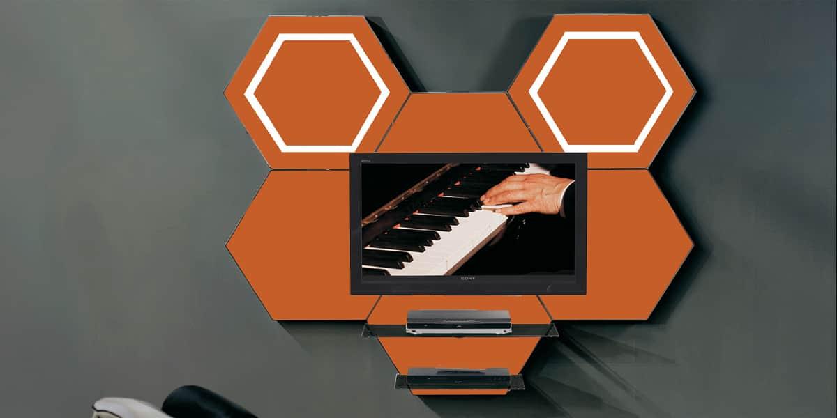 Munari cell06 orange meubles tv munari sur easylounge for Meuble mural orange