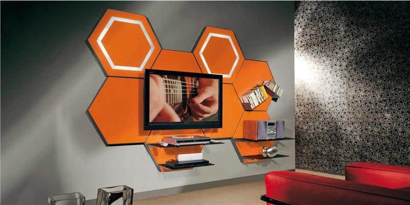 Munari cell08 orange meubles tv munari sur easylounge for Meuble mural orange