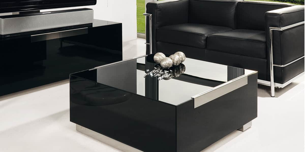 Munari mi316 noir tables basses sur easylounge for Table basse noire design