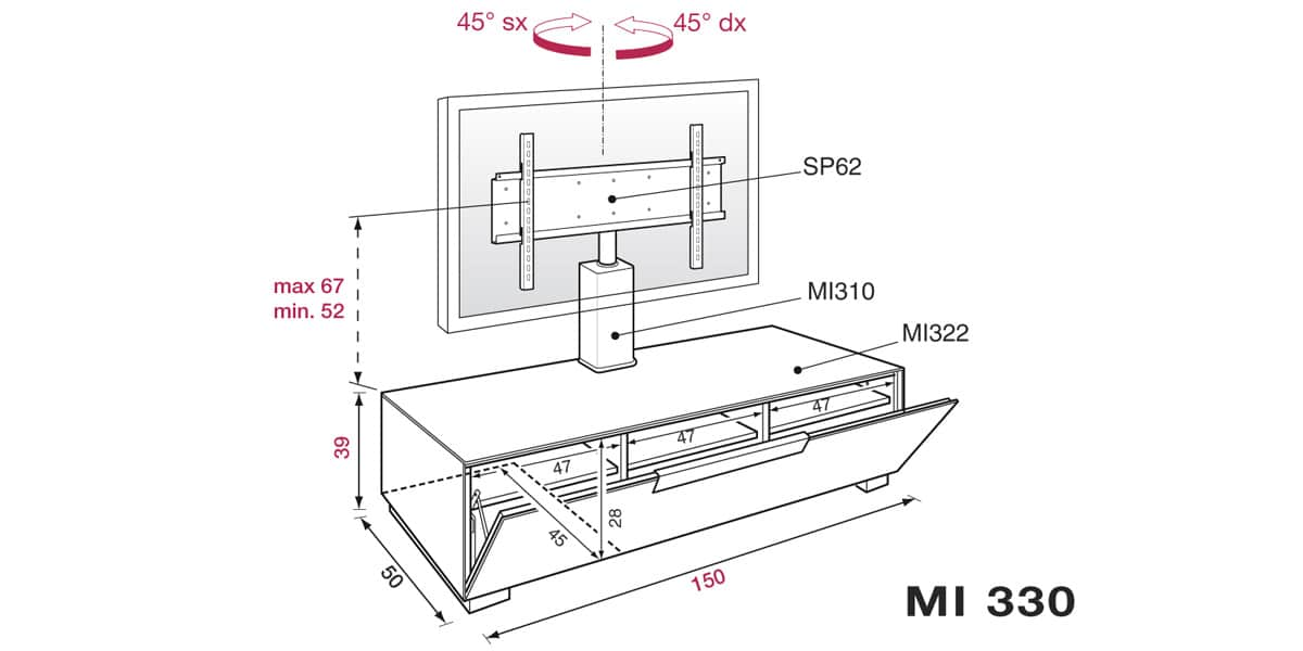 munari mi330 rouge meubles tv munari sur easylounge. Black Bedroom Furniture Sets. Home Design Ideas
