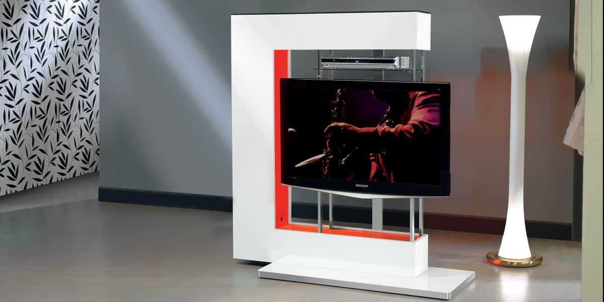 Meuble Tv Rouge : Meuble Tv Munari Next07 Blanc Lumière Rouge