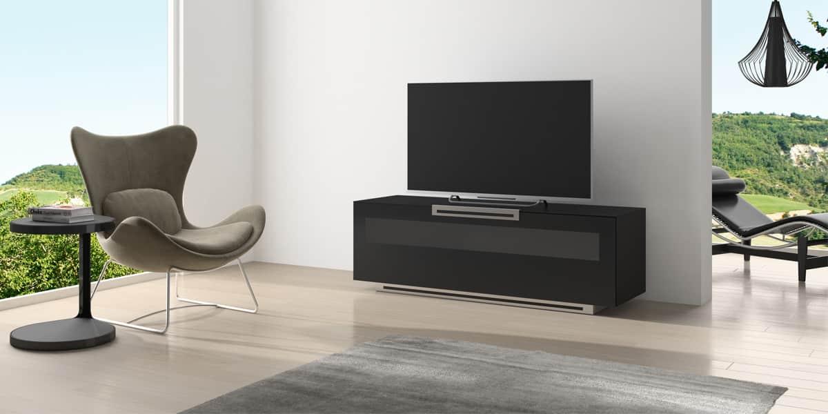 Munari pe014 noir mat meubles tv munari sur easylounge - Meuble tv noir mat ...