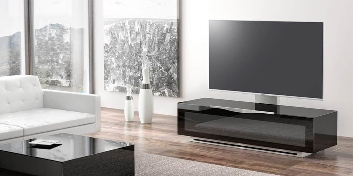 Munari pv022 096 noir meubles tv munari sur easylounge for Meuble tv avec support