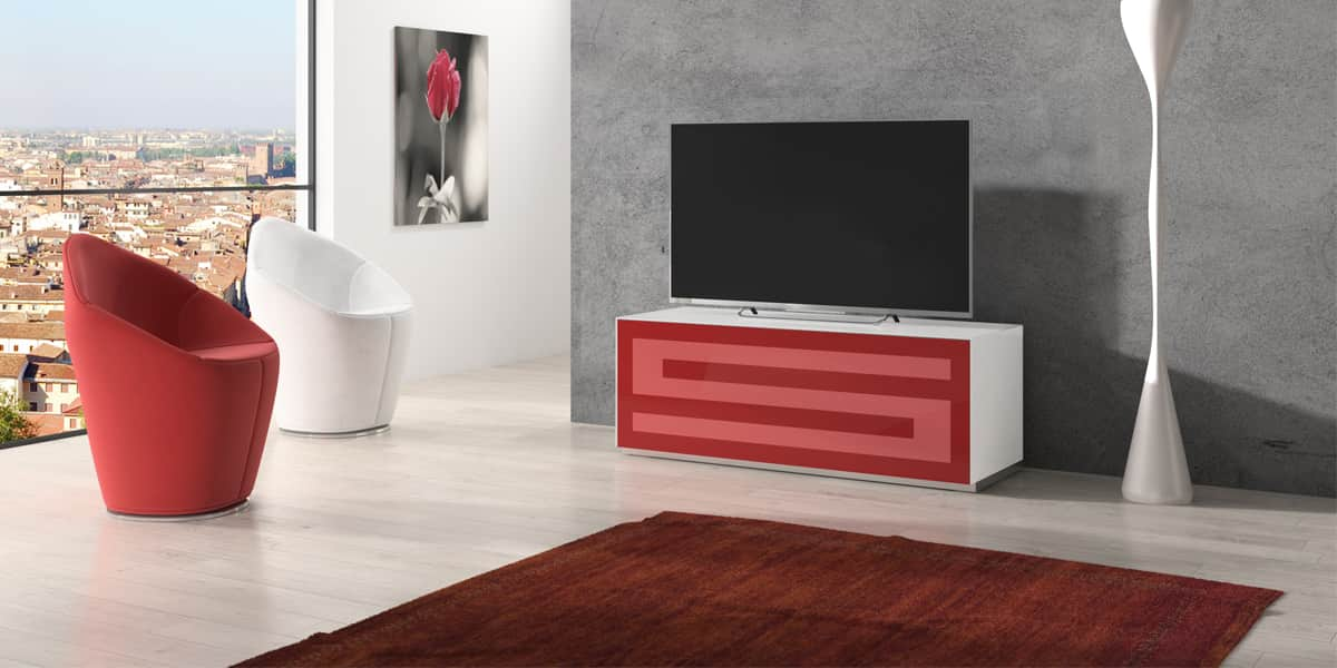 Munari Rainbow 125 Blanc P Rouge Meubles Tv Sur Easylounge