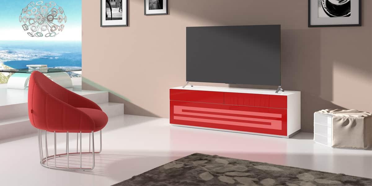 Munari rainbow 151 blanc p rouge meubles tv munari sur - Meuble rouge et blanc ...