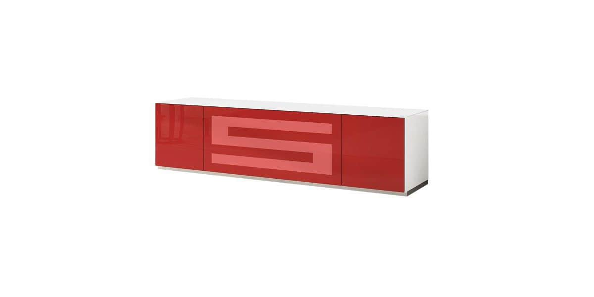 Munari rainbow 175 blanc p rouge meubles tv munari sur for Meuble tv rouge but