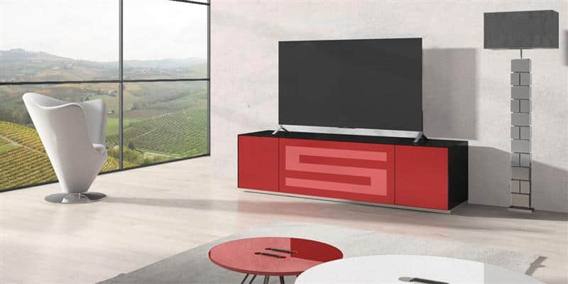 Munari rainbow 175 noir p rouge meubles tv munari sur for Meuble tv rouge but