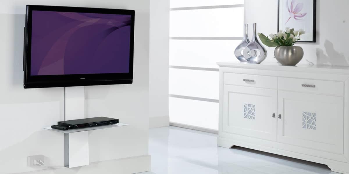 Munari sp901 blanc accessoires supports tv sur easylounge - Meuble tv cachee ...