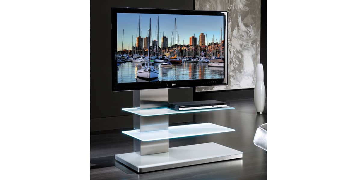 munari sy342 blanc supports tv sur pied sur easylounge. Black Bedroom Furniture Sets. Home Design Ideas