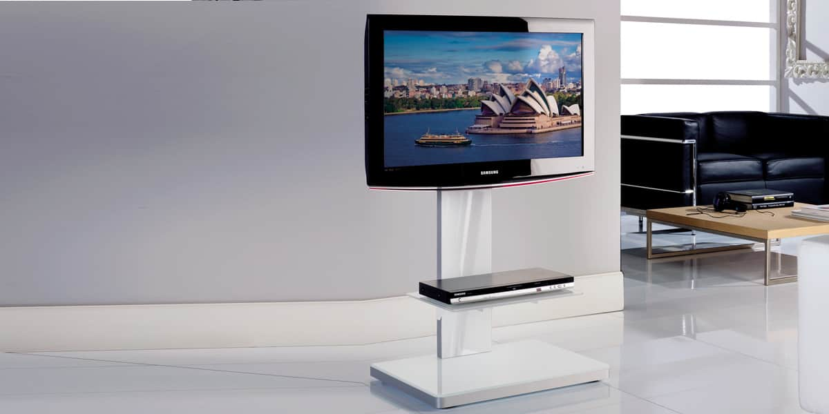 munari sy360 blanc supports tv sur pied sur easylounge. Black Bedroom Furniture Sets. Home Design Ideas