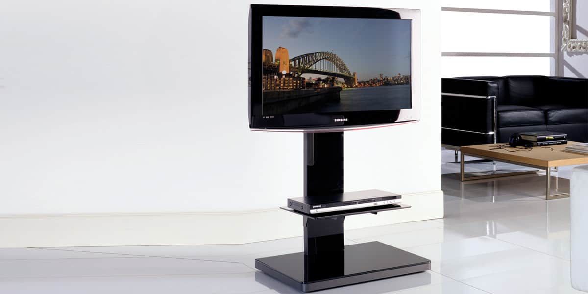Munari sy360 noir supports tv sur pied sur easylounge for Meuble support tv