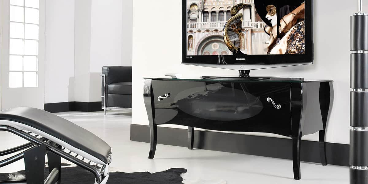 Munari ve132 noir meubles tv munari sur easylounge - Meuble tv infrarouge ...