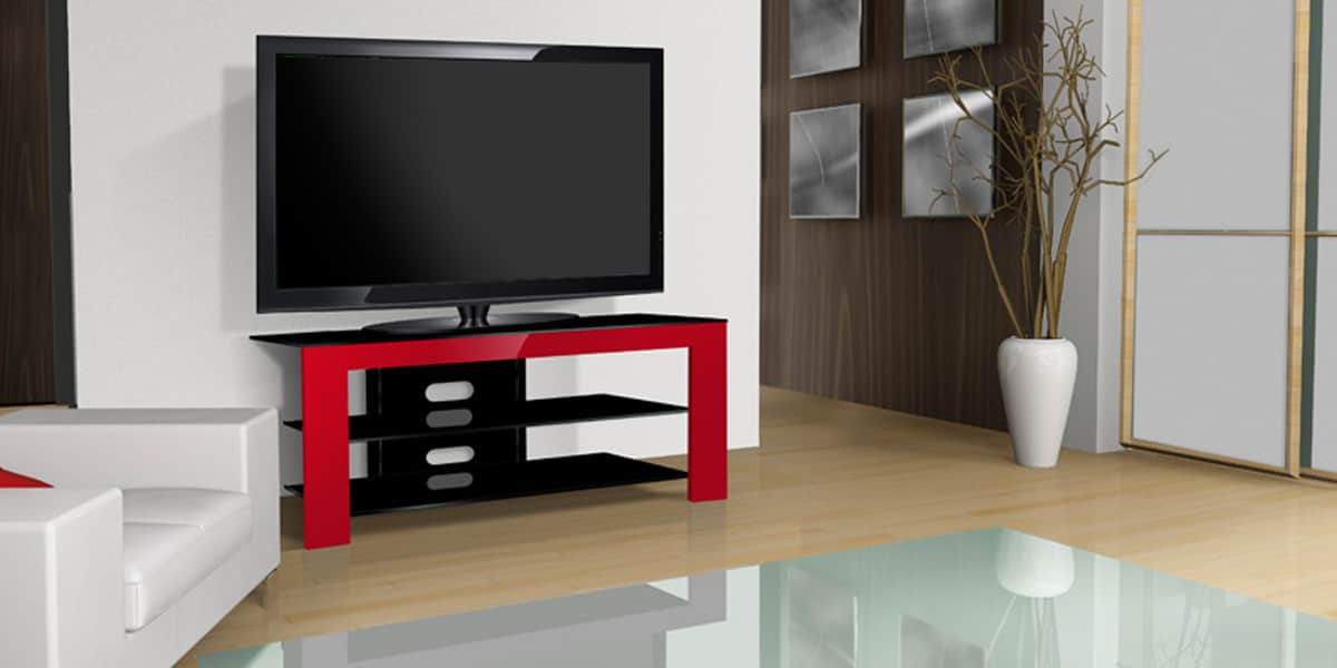 norstone nelio rouge meubles tv norstone sur easylounge. Black Bedroom Furniture Sets. Home Design Ideas