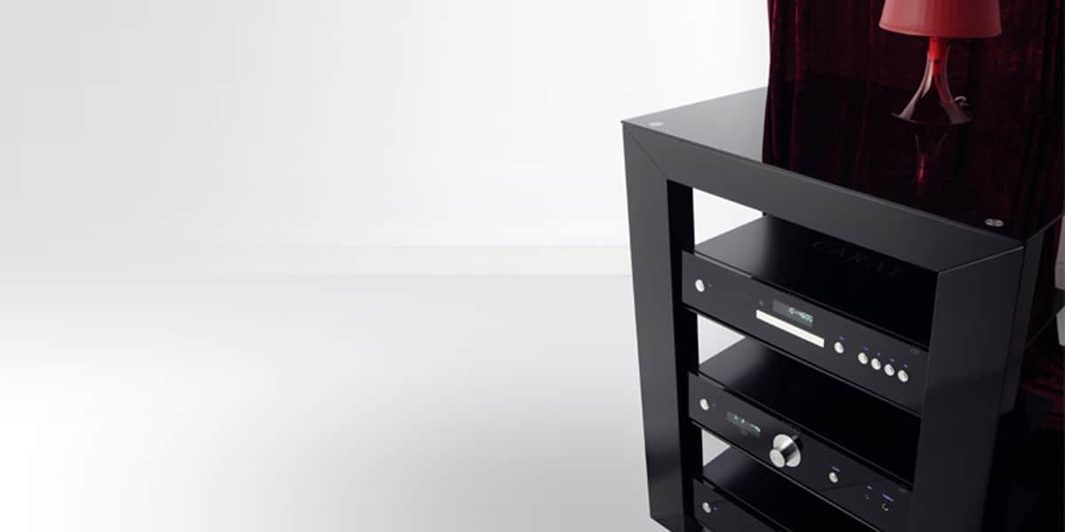 Norstone piu noir meubles hifi sur easylounge for Meuble hifi noir