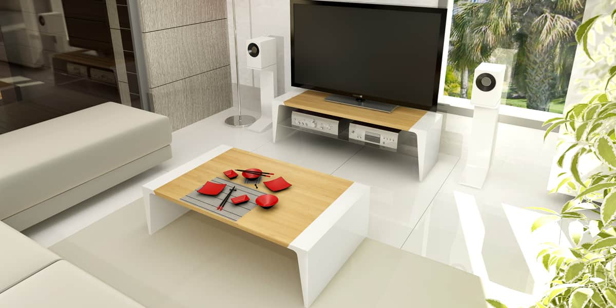 Norstone arken bambou blanc tables basses sur easylounge - Table basse et meuble tv assortis ...