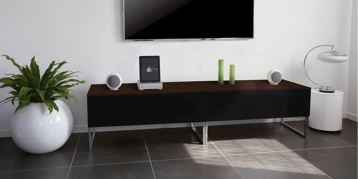 Norstone khalm noyer noir meubles tv norstone sur for Meuble tv haut noir