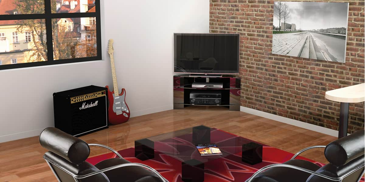 norstone corner noir meubles tv norstone sur easylounge. Black Bedroom Furniture Sets. Home Design Ideas