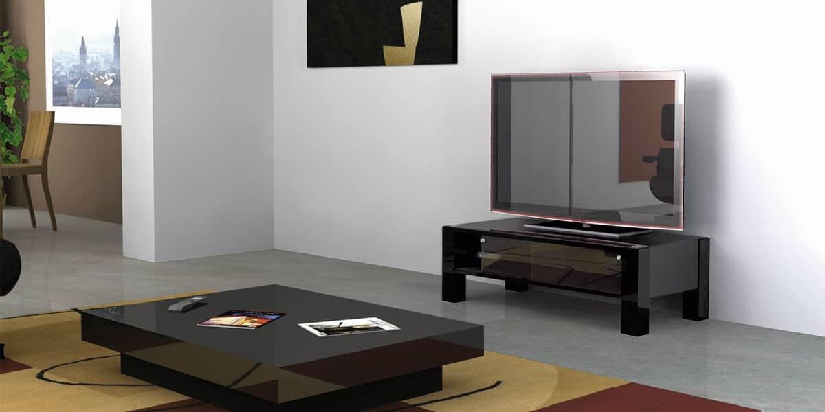 Norstone kodkod noir meubles tv norstone sur easylounge for Meuble tv norstone