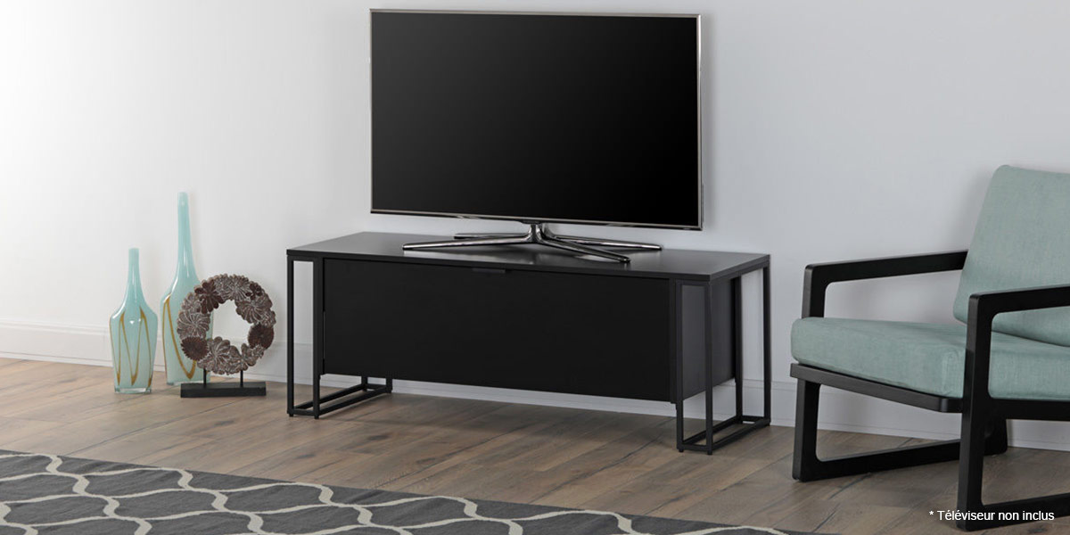 off the wall cube 1300 noir meubles tv off the wall sur easylounge. Black Bedroom Furniture Sets. Home Design Ideas