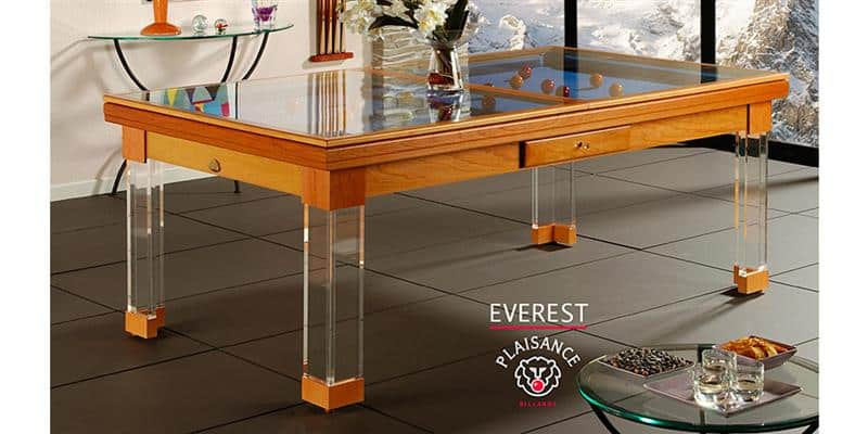 Billards Plaisance Plateau Table Everest en Verre