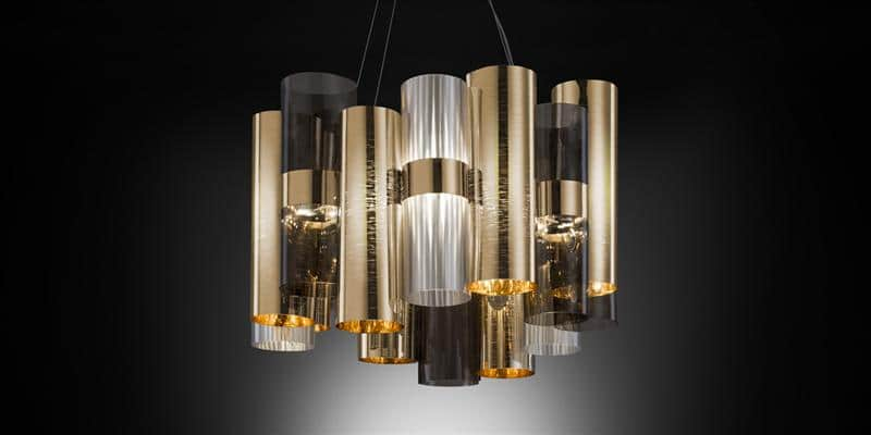 Slamp Suspension La Lollo Gold Fumé