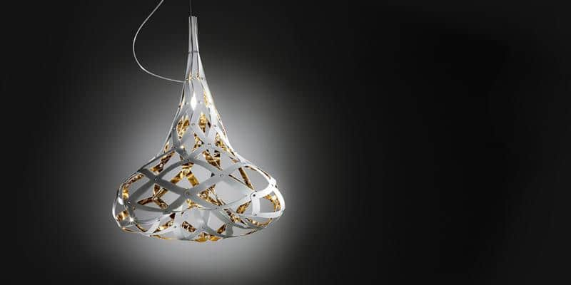 Slamp Suspension Supermorgana Gold Blanc