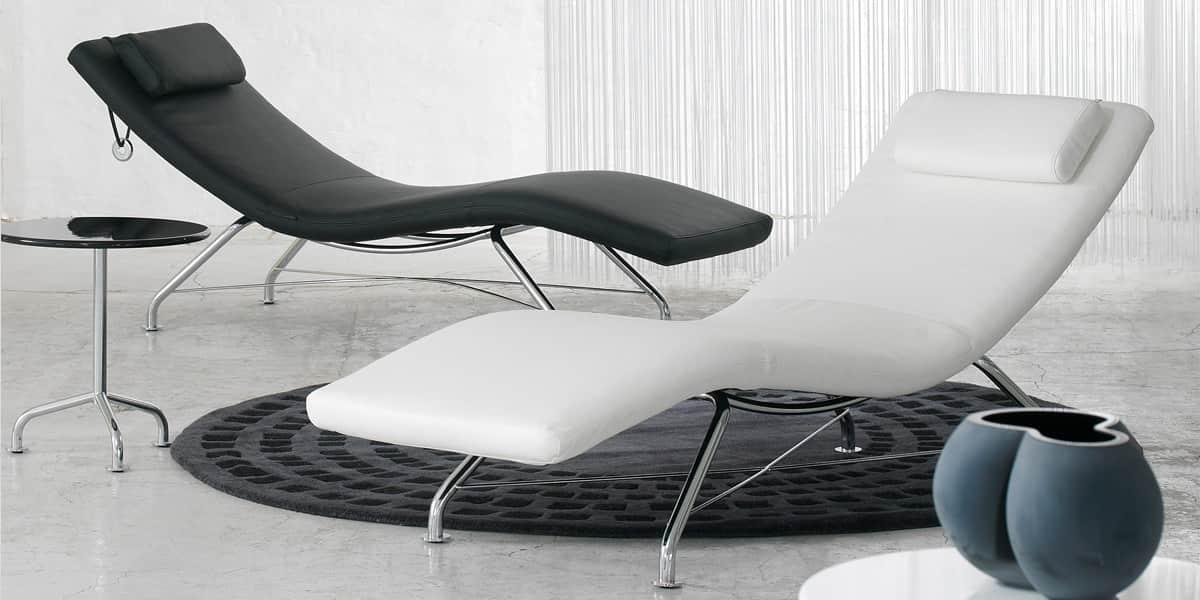 Softline sense cuir blanc tous les fauteuils sur easylounge - Chaise longue d interieur ...