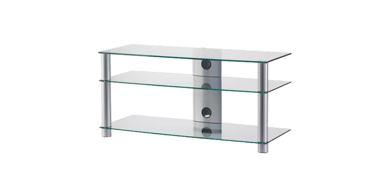 Sonorous lf 6330 silver meubles tv sonorous sur easylounge for Meuble tv en verre transparent