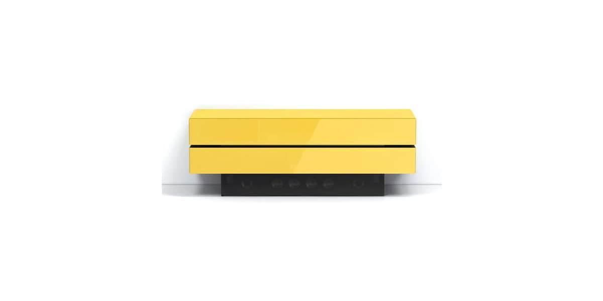 Spectral brick 1203 jaune meubles tv spectral sur easylounge for Meuble brick