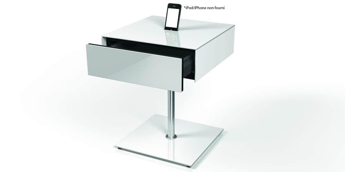 Spectral table cockpit tiroir blanc tables d 39 appoint sur for Table haute d appoint