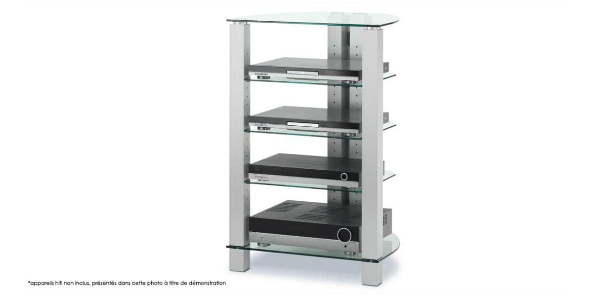 Spectral corner 105 verre clair meubles hifi sur easylounge - Meuble chaine hifi en verre ...