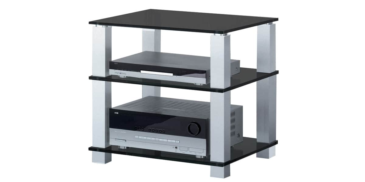 Spectral high end 613 verre noir meubles hifi sur easylounge - Meuble chaine hifi en verre ...