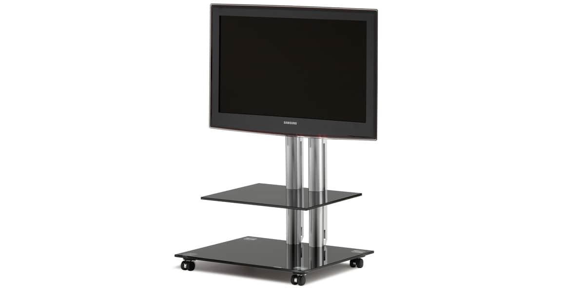 spectral panel 60 noir supports tv sur pied sur easylounge. Black Bedroom Furniture Sets. Home Design Ideas