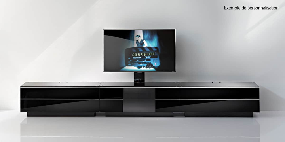 Ultimate gs180 noir meubles tv ultimate sur easylounge for Meuble tele en verre