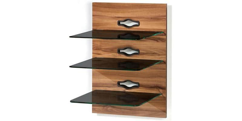 Vcm xeno 3 bois fonc et tablettes noires easylounge - Tablette murale pour tv ...