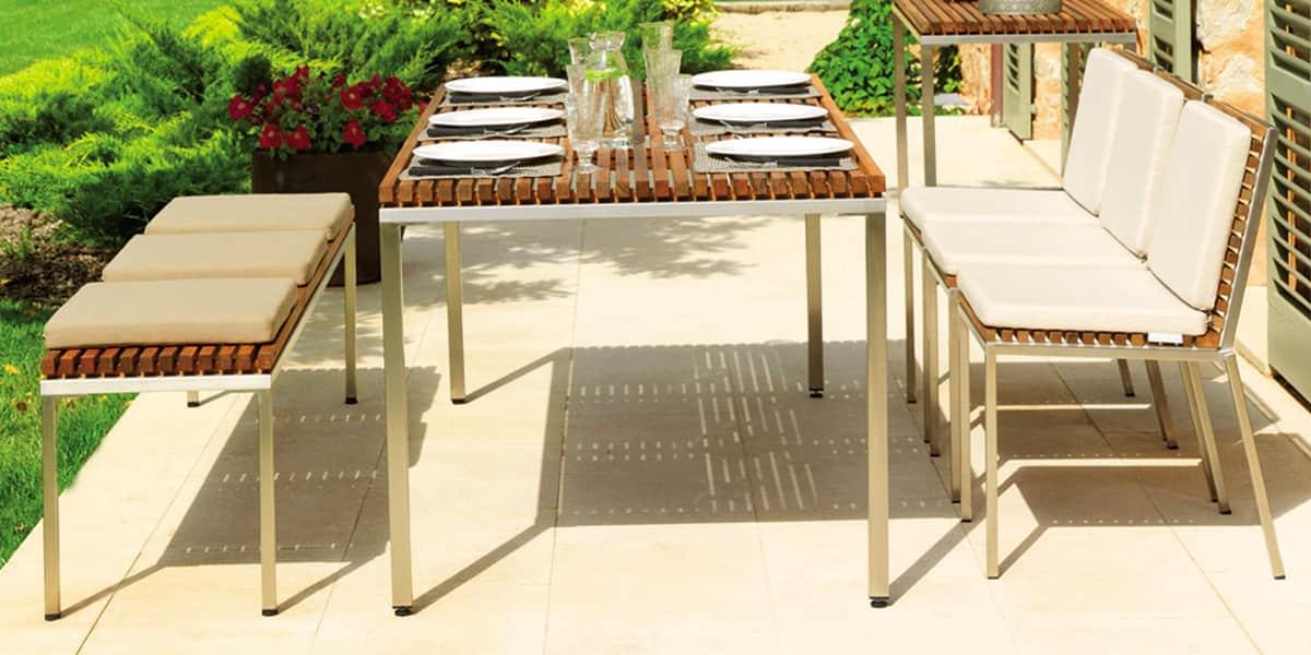 viteo banc teck hc 140 bancs de jardin sur easylounge. Black Bedroom Furniture Sets. Home Design Ideas