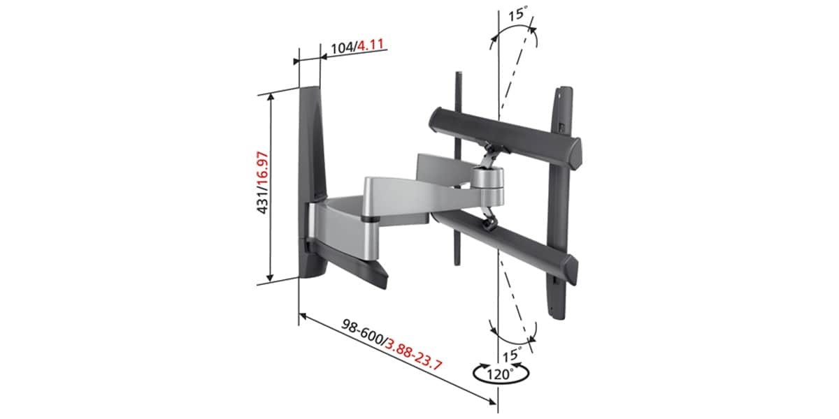 vogel 39 s efw6345 argent supports tv muraux sur easylounge. Black Bedroom Furniture Sets. Home Design Ideas